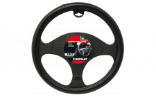 Image for STEERING WHEEL COVER - LEATHER LOOK - BLACK