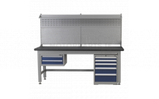 Image for 1.8mtr Complete Industrial Workstation & Cabinet Combo