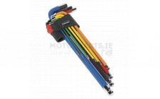 Image for Ball-End Hex Key Set 9pc Colour-Coded Extra-Long Metric